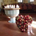 Trauer Beerdigung herz rot mit Schlaufe